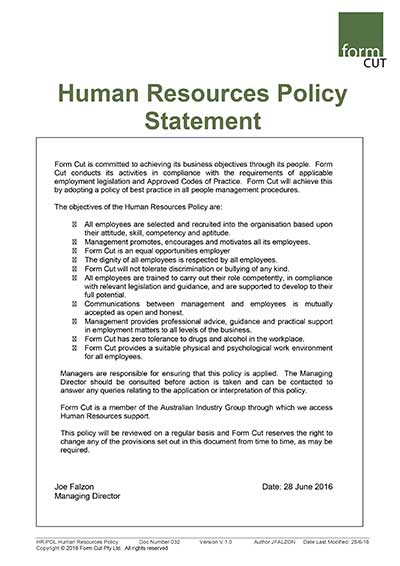 Form Cut Human Resources Policy Statement