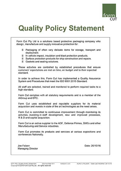 Form Cut Quality Assurance Policy Statement